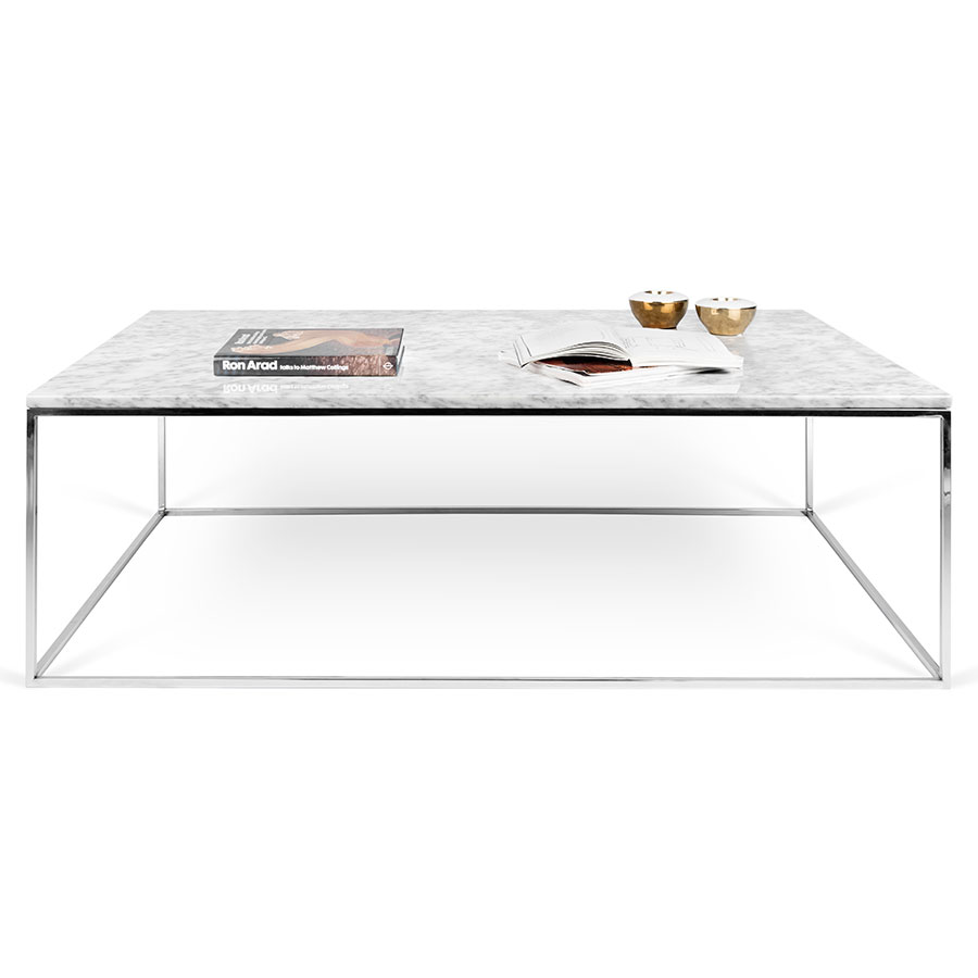 ... Gleam White Marble Top + Chrome Base Rectangular Modern Coffee Table By  TemaHome ...
