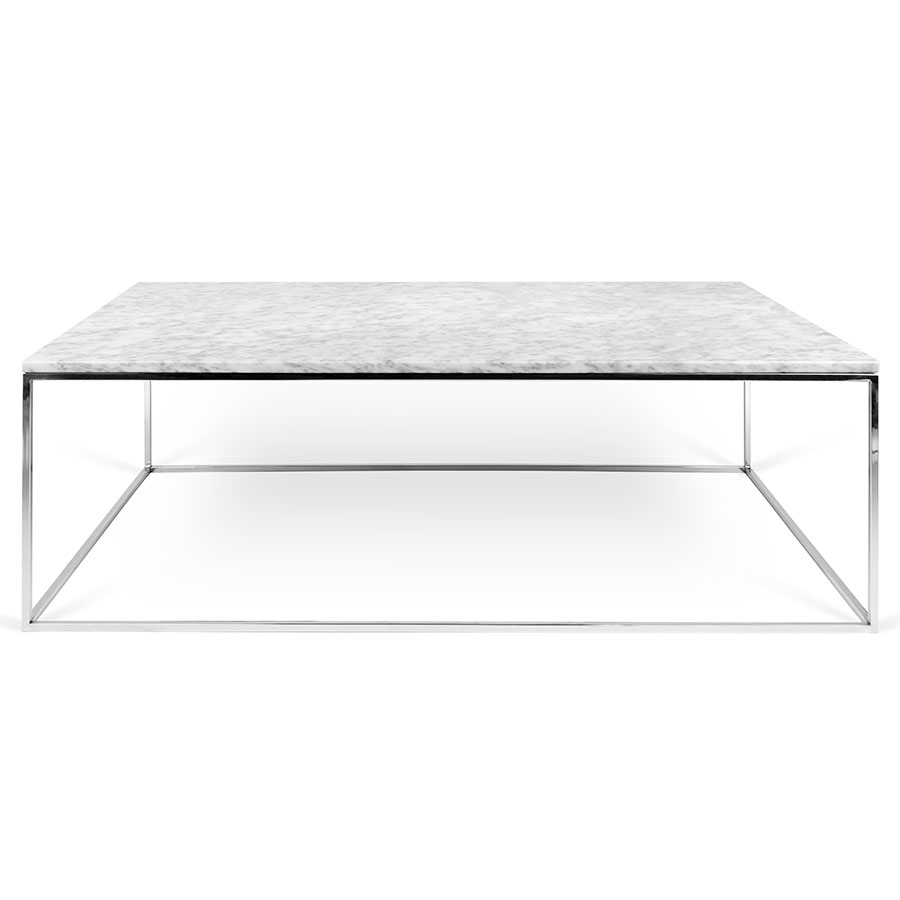 ... Gleam White Marble Top + Chrome Base Rectangular Contemporary Coffee  Table ...