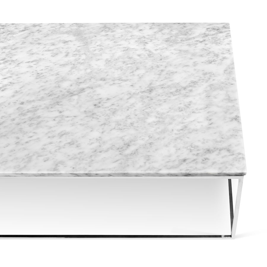 White Marble Top Coffee Table Rectangle: TemaHome Gleam White Marble + Chrome Rect. Coffee Table
