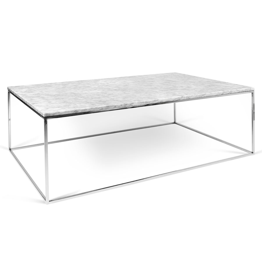 Temahome gleam white marble chrome rect coffee table for Marble top coffee table rectangle