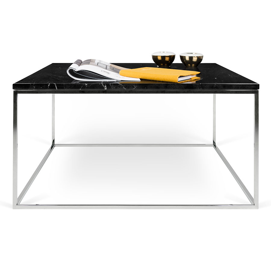 Marble And Chrome Coffee Table: Gleam Black Marble + Chrome Coffee Table By TemaHome
