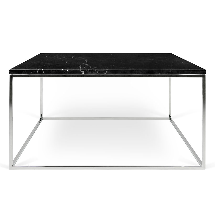 ... Gleam Black Marble Top + Chrome Metal Base Square Contemporary Coffee  Table ...