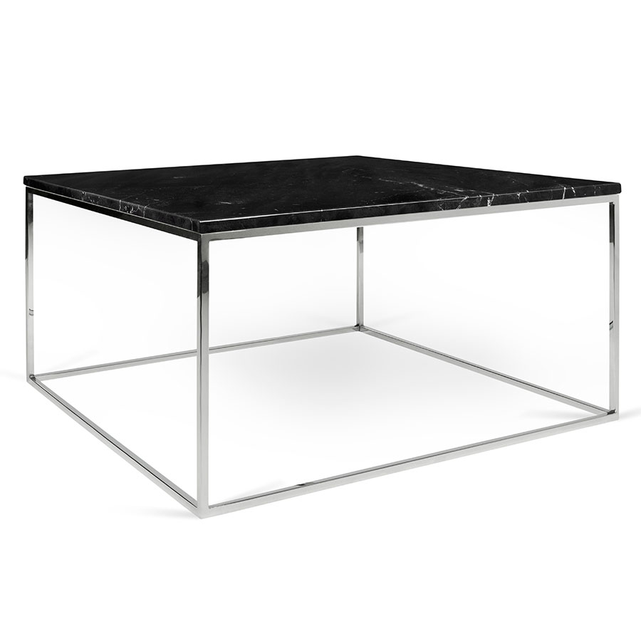 Gleam Black Marble Top + Chrome Metal Base Square Modern Coffee Table - Gleam Black Marble + Chrome Modern Coffee Table Eurway