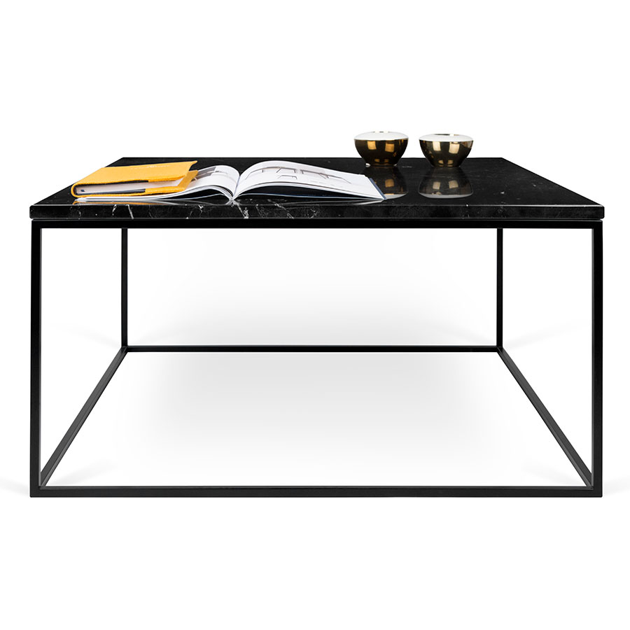 Gleam Black Marble Top Black Metal Base Square Contemporary Cocktail Table