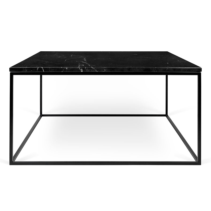 Bon ... Gleam Black Marble Top + Black Metal Base Square Modern Cocktail Table  ...