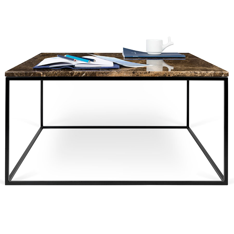 ... Coffee Table; Gleam Brown Marble Top + Black Metal Base Square Modern  Cocktail Table ...