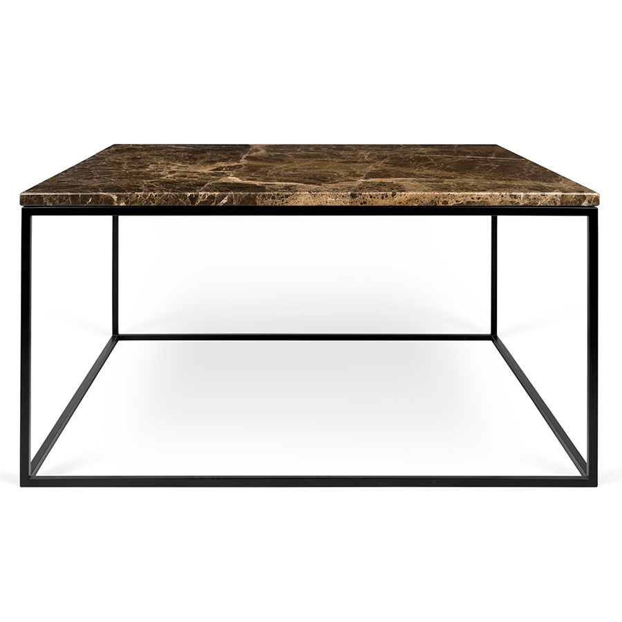 ... Gleam Brown Marble Top + Black Metal Base Square Contemporary Coffee  Table ...