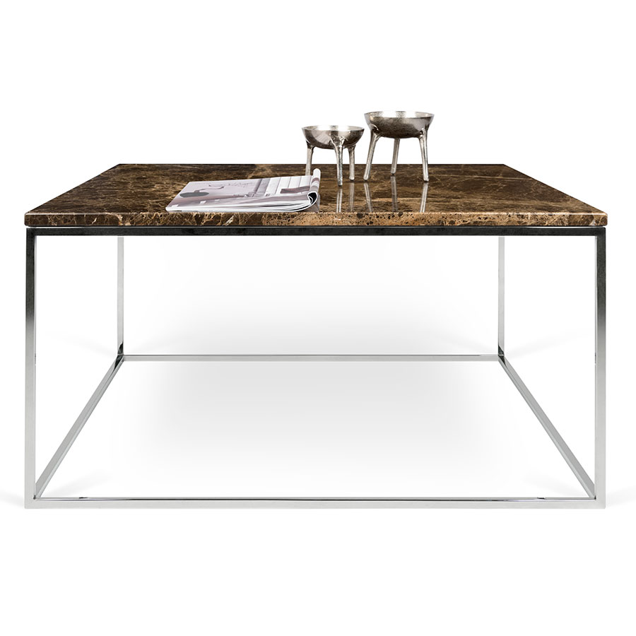 ... Gleam Brown Marble Top + Chrome Metal Base Square Modern Cocktail Table