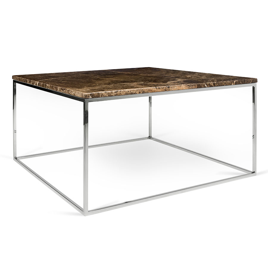 Call To Order Gleam Brown Marble Top Chrome Metal Base Square Modern Coffee Table