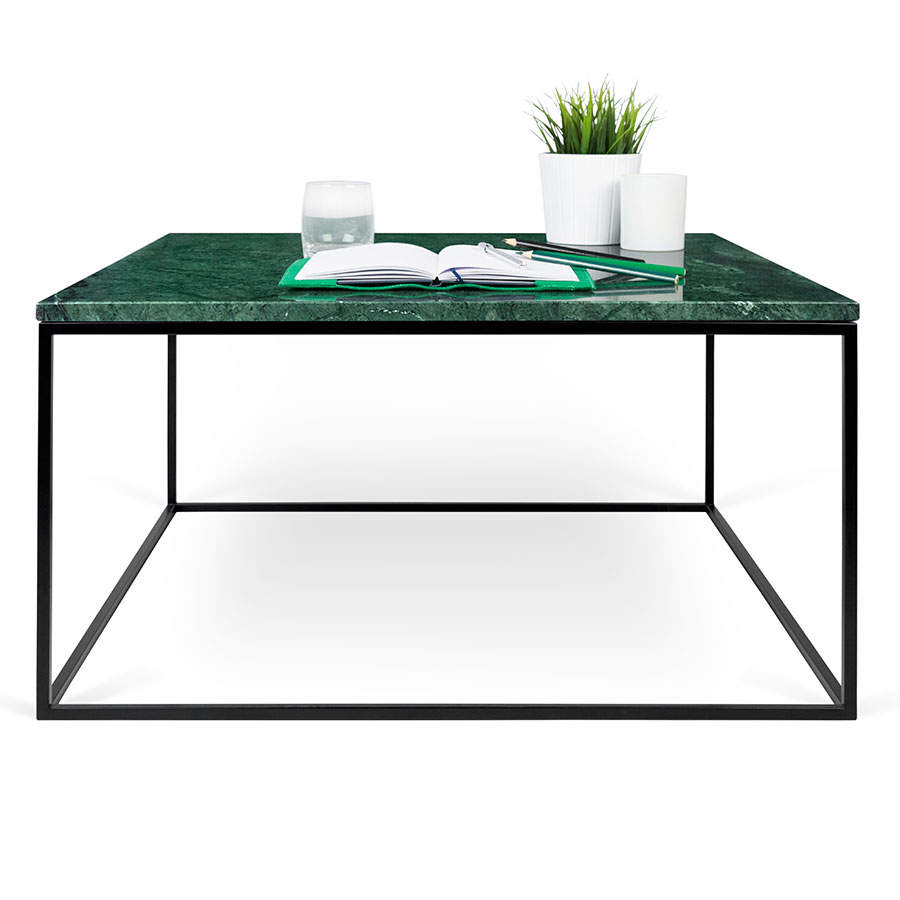 Gleam green marble black modern coffee table eurway coffee table gleam green marble top black metal base square modern cocktail table geotapseo Image collections