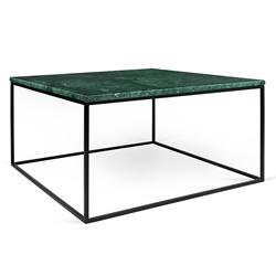 Gleam Green Marble Top + Black Metal Base Square Modern Coffee Table