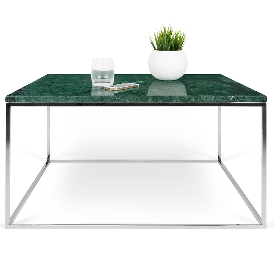... Gleam Green Marble Top + Chrome Metal Base Square Modern Cocktail Table  ...