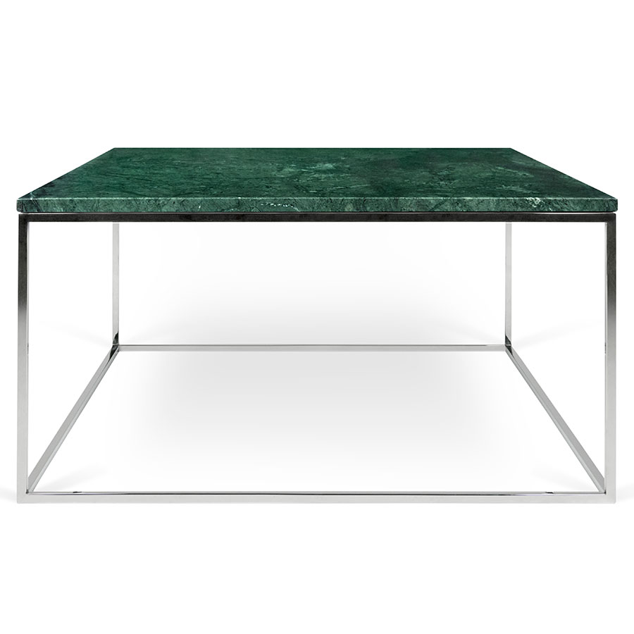 ... Gleam Green Marble Top + Chrome Metal Base Square Contemporary Coffee  Table ...