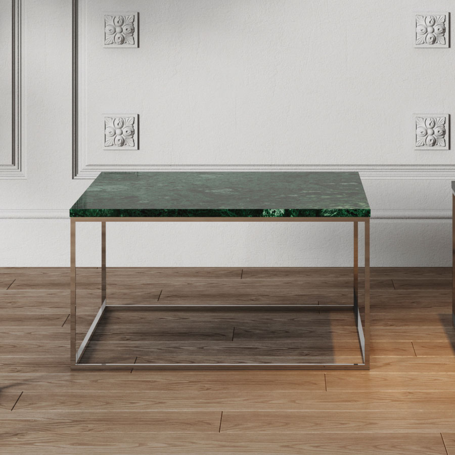 ... Gleam Green Marble Top + Chrome Metal Base Square Contemporary Cocktail  Table ...