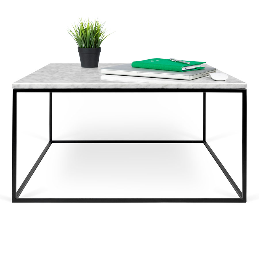 ... Coffee Table; Gleam White Marble Top + Black Metal Base Square Modern  Cocktail Table
