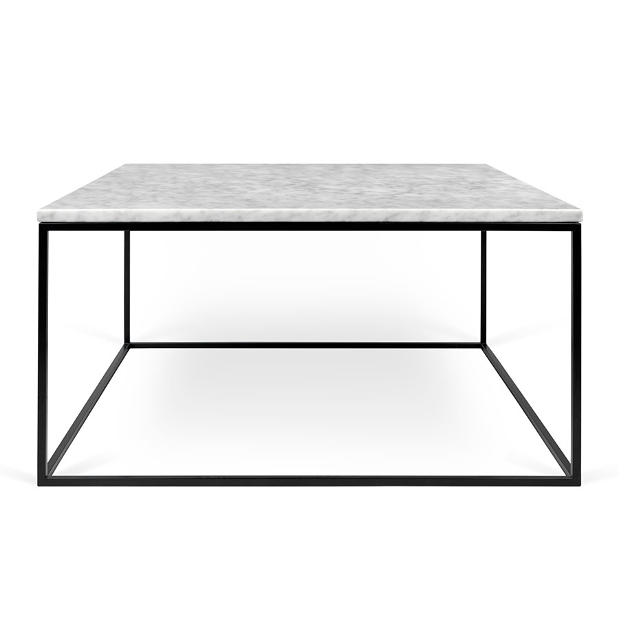 White Marble Top Coffee Table Rectangle: Gleam White Marble + Black Coffee Table By TemaHome