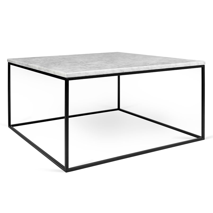 Square Outdoor Coffee Table Part - 40: Gleam White Marble Top + Black Metal Base Square Modern Coffee Table