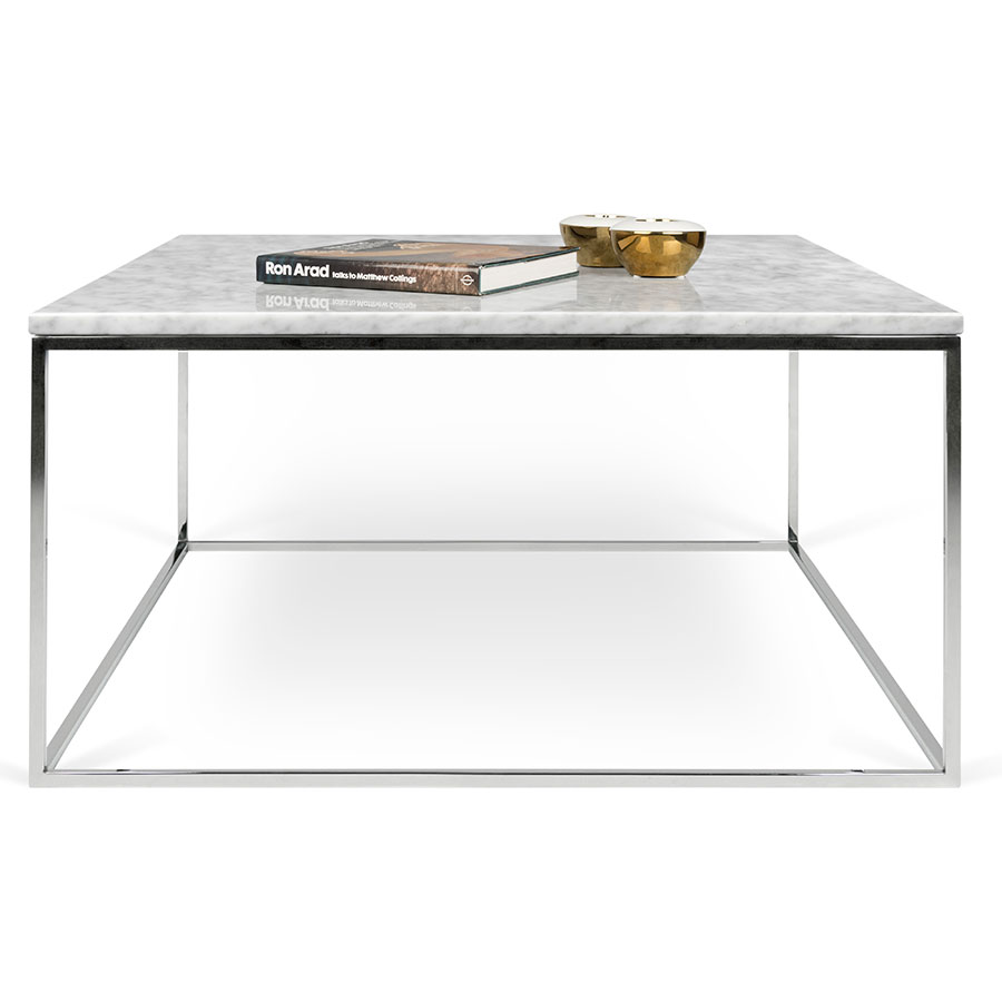... Gleam White Marble Top + Chrome Metal Base Square Modern Coffee Table  By TemaHome