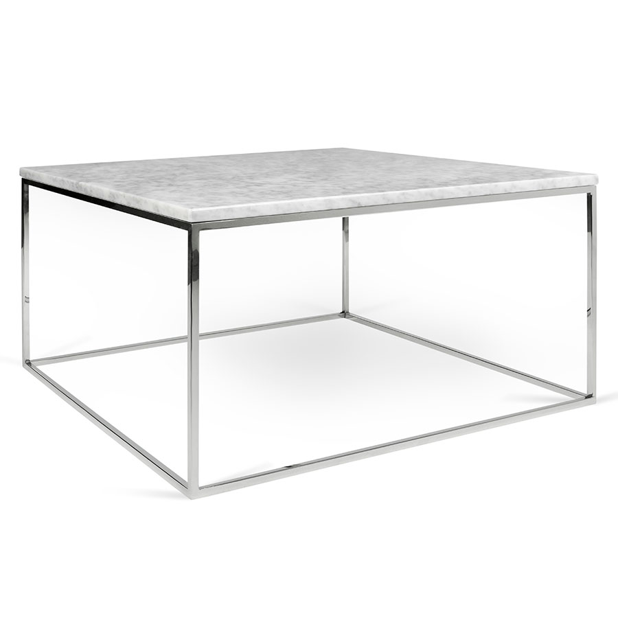 Elegant Gleam White Marble Top + Chrome Metal Base Square Modern Coffee Table