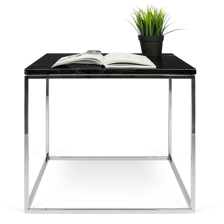 ... Gleam Black Marble Top + Chrome Metal Base Square Modern Side Table By  TemaHome ...