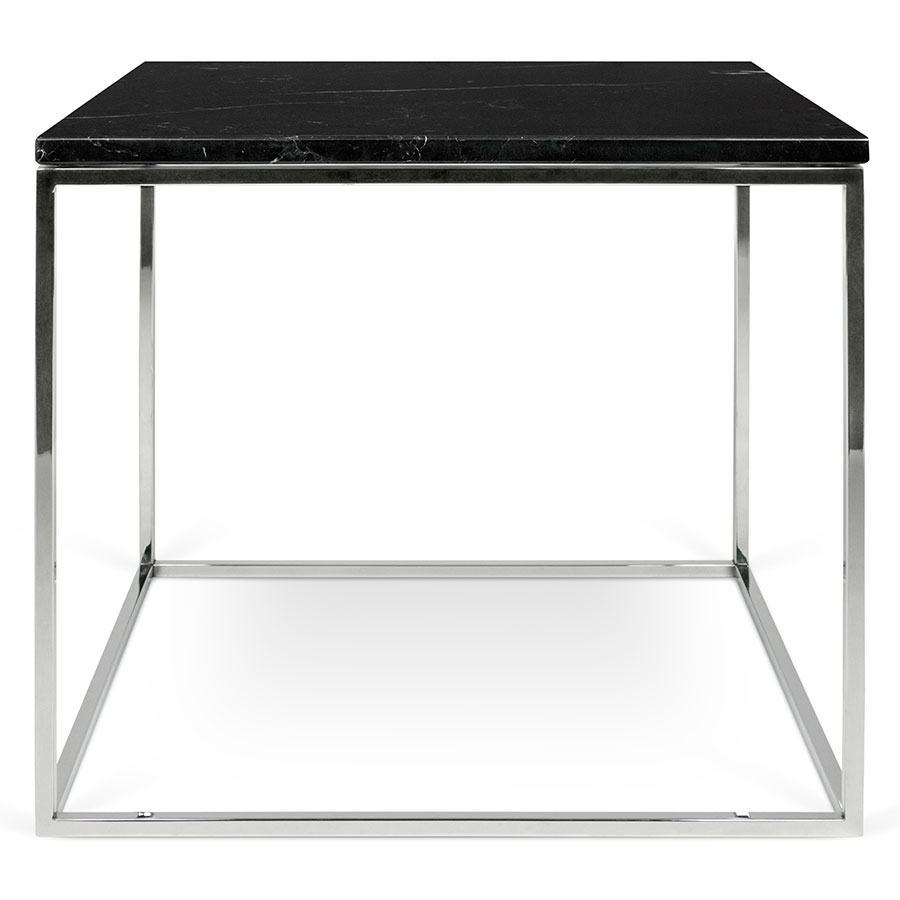 Gleam Black Marble Top Chrome Metal Base Square Contemporary Side Table