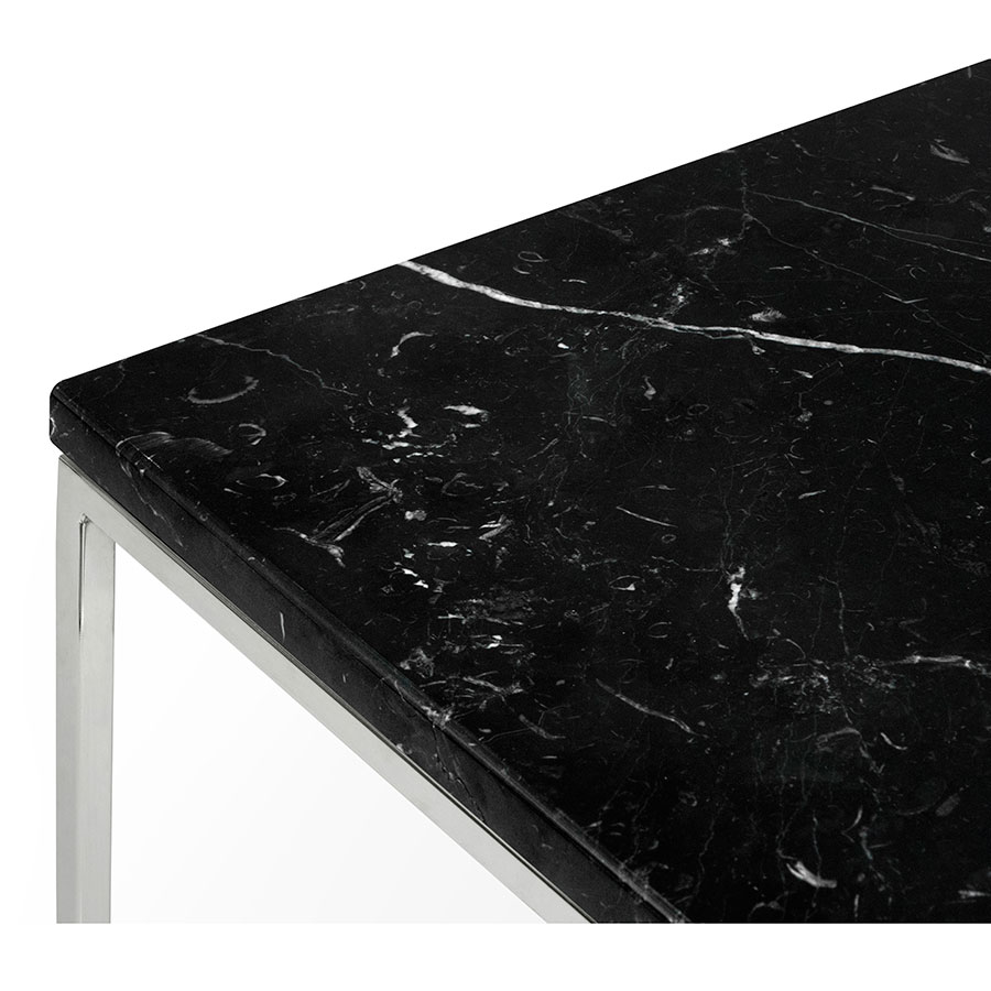 ... Gleam Black Marble Top + Chrome Metal Base Square Modern End Table Top  Detail
