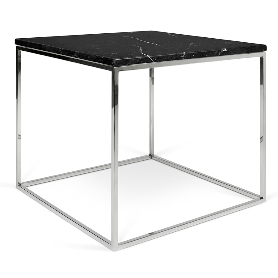 Gleam Black Marble Top + Chrome Metal Base Square Modern Side Table