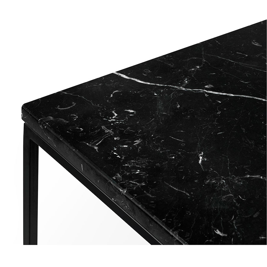 ... Gleam Black Marble Top + Black Metal Base Square Contemporary End Table  Top Corner Detail