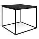 Gleam Black Marble Top + Black Metal Base Square Modern Side Table