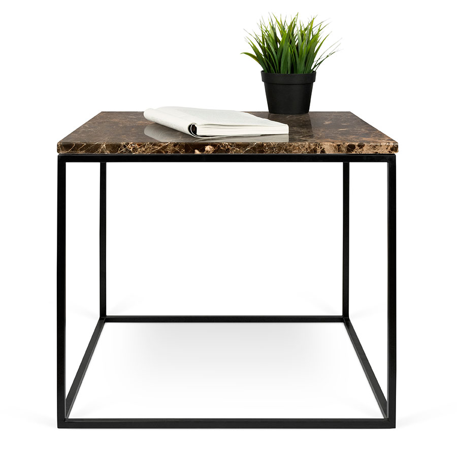 Gleam Brown Marble Top Black Metal Base Square Modern Side Table By Temahome