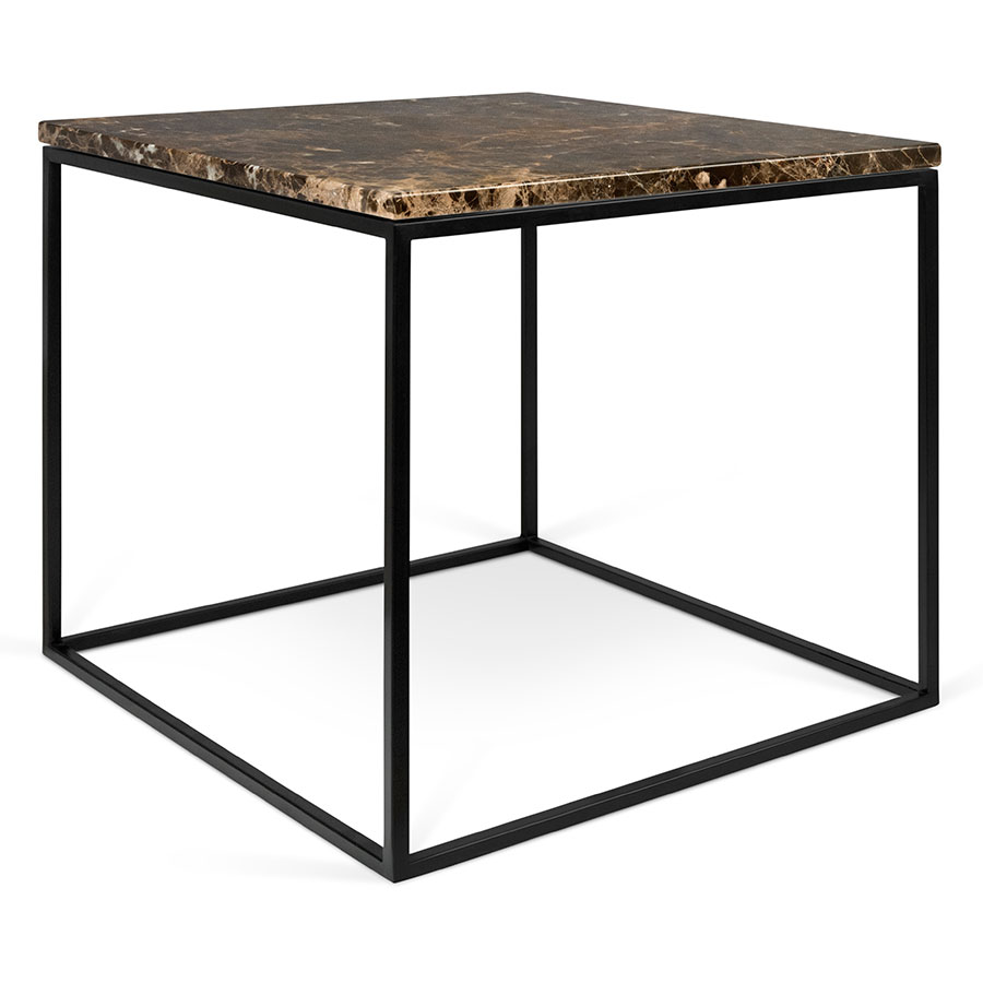 Modern black side table - Gleam Brown Marble Top Black Metal Base Square Modern Side Table