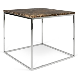 Gleam Brown Marble Top + Chrome Metal Base Square Modern End Table