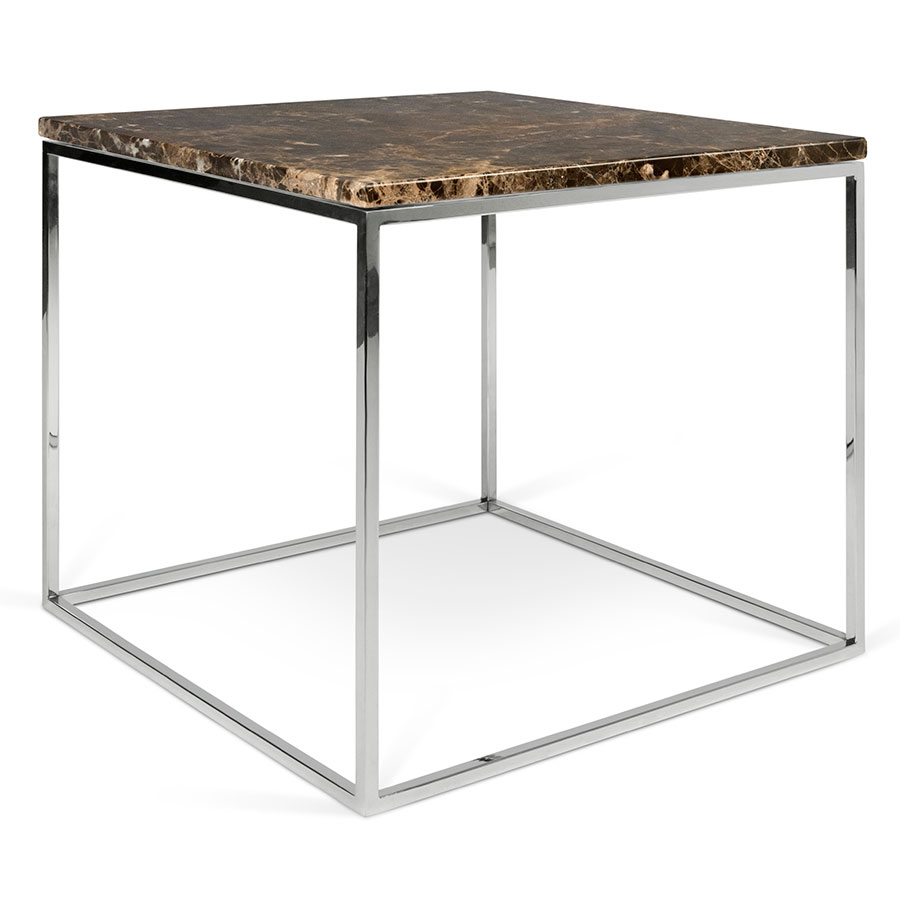 Captivating Call To Order · Gleam Brown Marble Top + Chrome Metal Base Square Modern  End Table