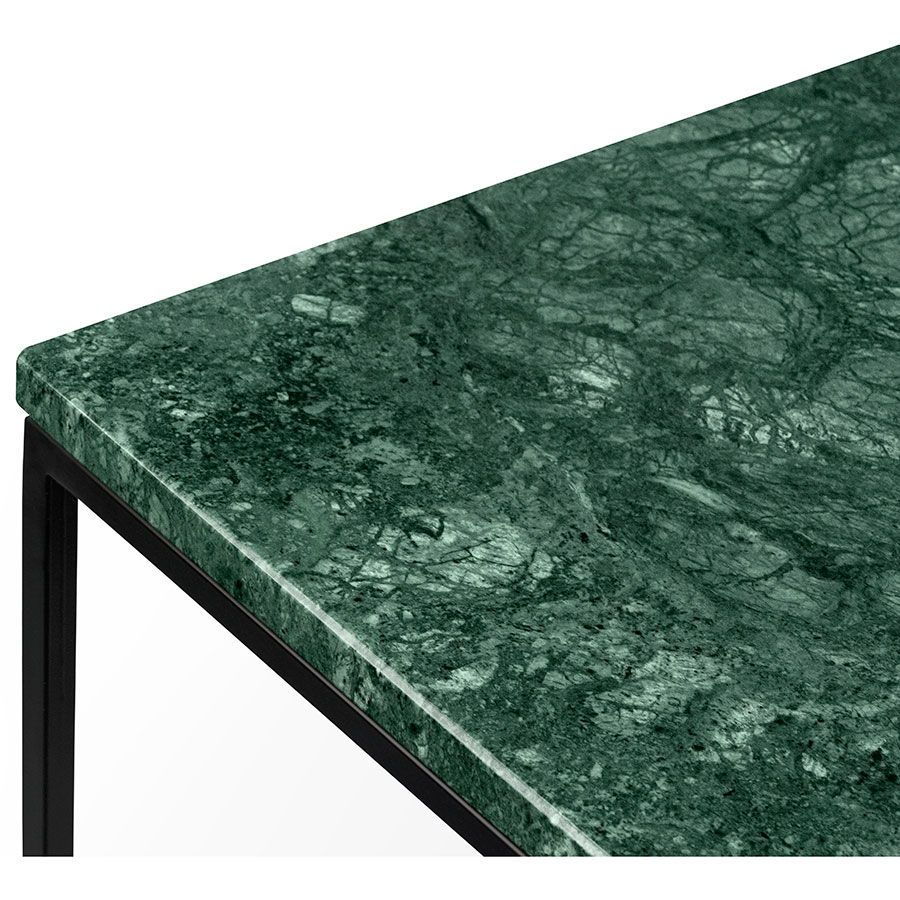 Marble table top -  Table Gleam Green Marble Top Black Metal Base Square Contemporary End Tablet