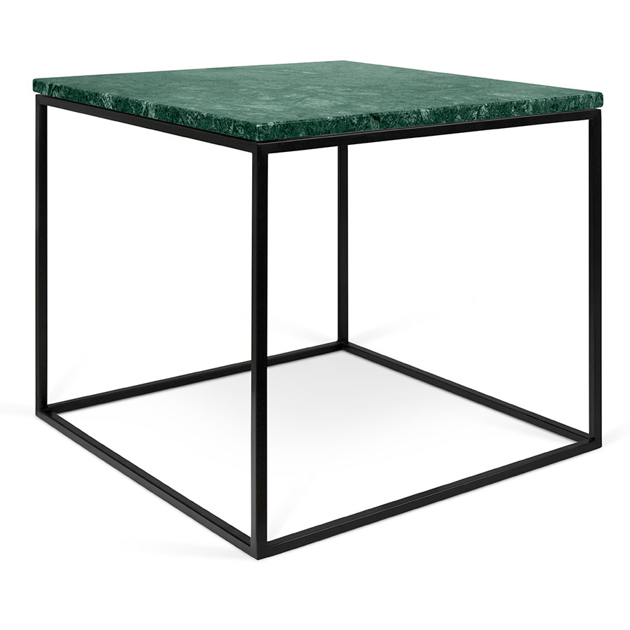 gleam green  black marble modern side table  eurway. gleam green marble top  black metal base square modern side table