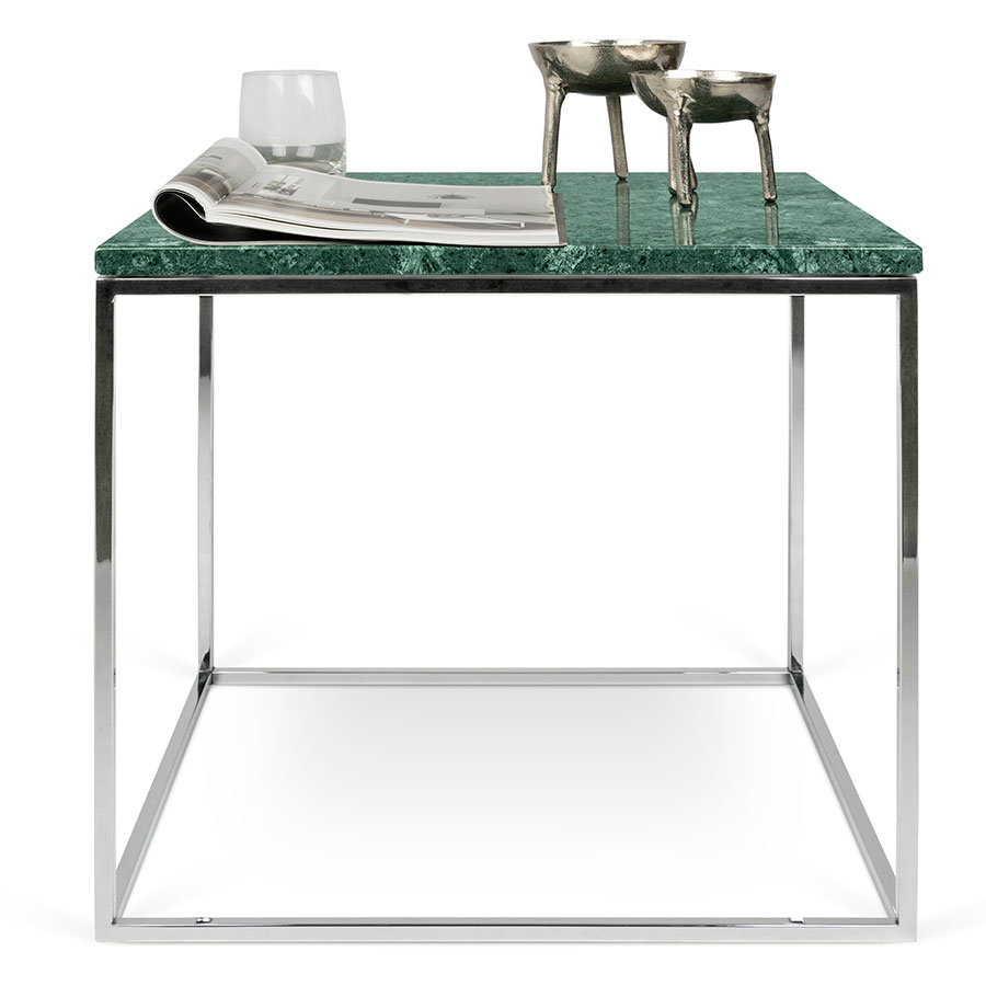 ... Gleam Green Marble Top + Chrome Metal Base Square Modern Side Table ...