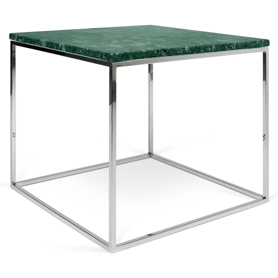 gleam green  chrome marble modern side table  eurway - gleam green marble top  chrome metal base square modern end table