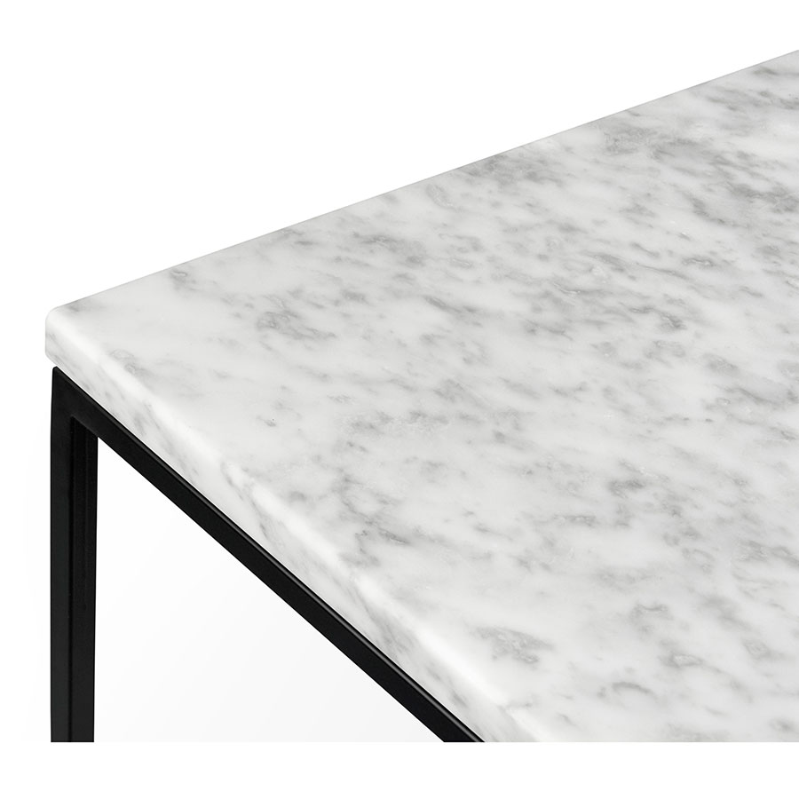 white marble table top. gleam white marble top + black metal base square modern end table corner detail e