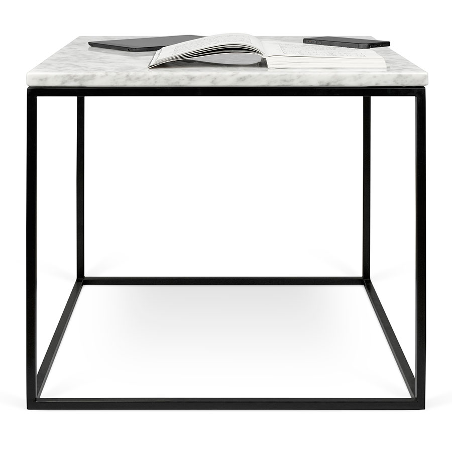 Modern black side table -  Side Table Gleam White Marble Top Black Metal Base Square Modern End Table