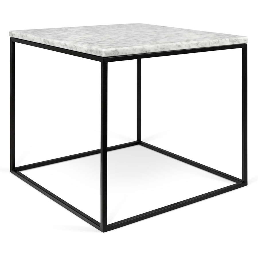 Square Coffee Table In White Marble And Black Metal: Gleam White + Black Marble Modern Side Table By TemaHome