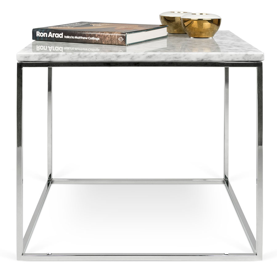 ... Side Table; Gleam White Marble Top + Chrome Metal Base Square Modern  End Table ...