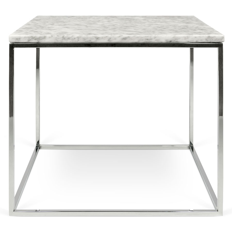 gleam white  chrome marble modern side table  eurway -  gleam white marble top  chrome metal base square contemporary sidetable