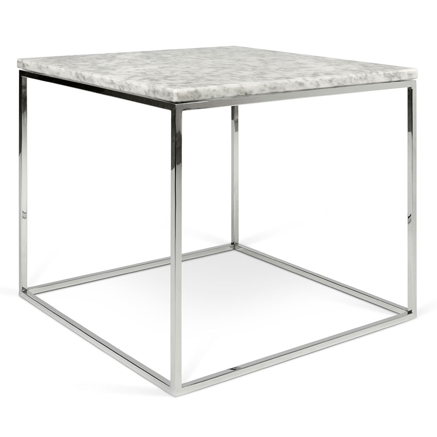 Gleam White Marble Top + Chrome Metal Base Square Modern Side Table