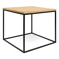 Gleam Oak Top + Black Base Square Modern Side Table