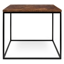 Gleam Rust Top + Black Base Square Modern Side Table