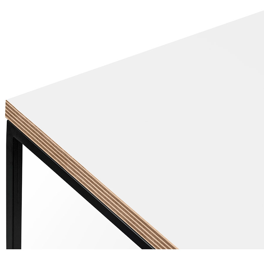 ... Gleam White / Ply Top + Black Base Square Modern Side Table By TemaHome