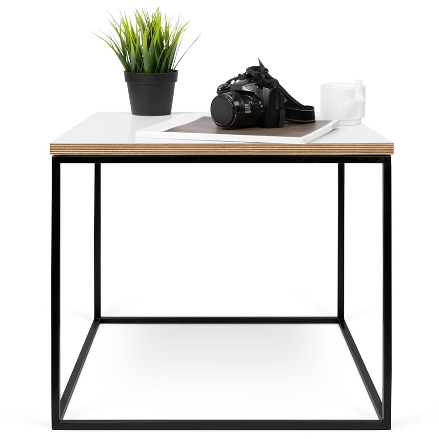 High Quality ... Gleam White / Ply Top + Black Base Contemporary Square End Table ...