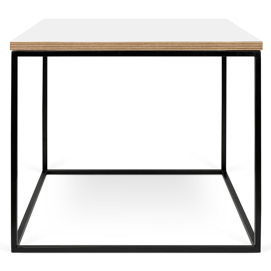 Exceptionnel ... Gleam White / Ply Top + Black Base Square Contemporary Side Table ...