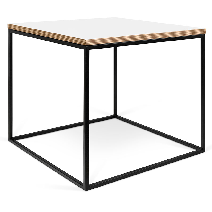 Call To Order · Gleam White / Ply Top + Black Base Square Modern Side Table