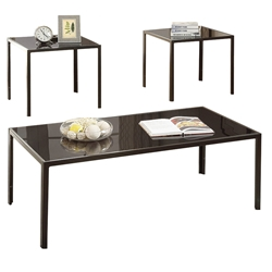 Goodwin Modern Black Coffee Table + End Table Set